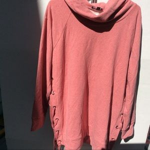 NWT Pink Lace up Cowl Neck